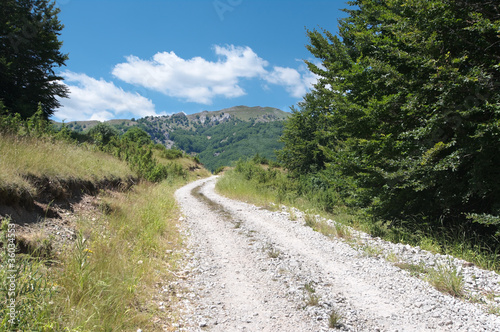 mountain landscape along a white trail in the republic of Macedonia