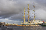 Sailing vessel at Neva-river embankment poster