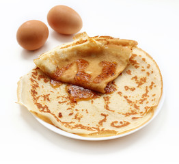pancakes on white background