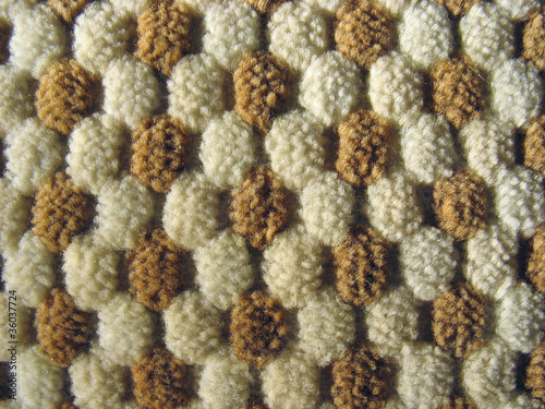 Brown and white relief plush fabric texture