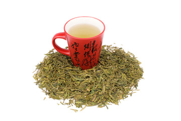 Green Long Jing Tea With A Red Cup