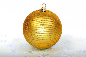 Close up decorative Christmas ball on the table.