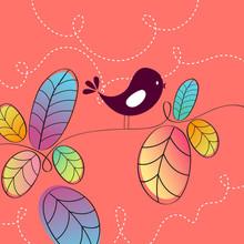 Illustration mignonne d'oiseau automne