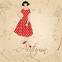 Elegant autumn vintage fashion lady