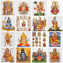collage with variety of asian religious symbols
