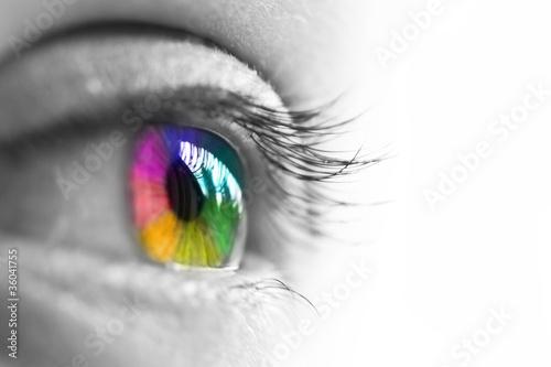 Leinwanddruck Bild Oeil de profil, iris multicolore