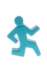 Blue Stick Man Running