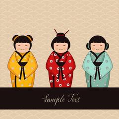 japanese kokeshi characters - dolls