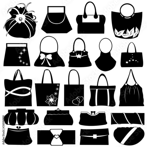 Female purse set isolated on white