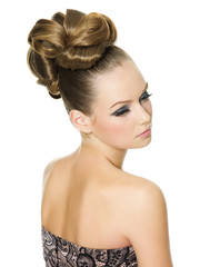 beautiful teenager girl with modern glamour hairstyle
