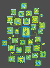 Black bit Internet Networking link Ecology concept vector