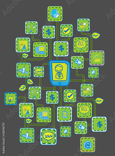 Black bit Internet Networking link Ecology concept vector