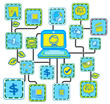 Blue Internet Networking link vector