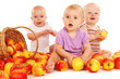 Babies eating apples