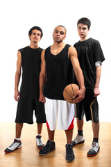 Three basketball players