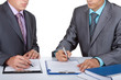 Two business people working with documents sign up contract