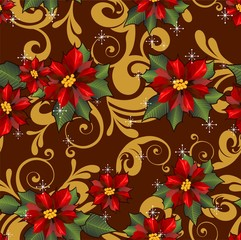 Seamless poinsettia