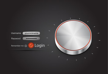 Vector login page with tune button