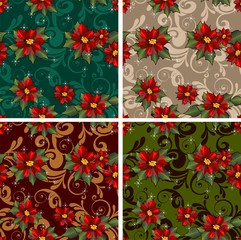 Set 4 seamless poinsettia