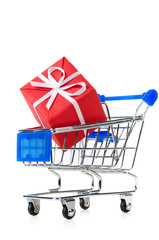 cart with red gift box