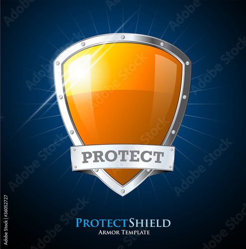 Orange blue vector shield with protect sign