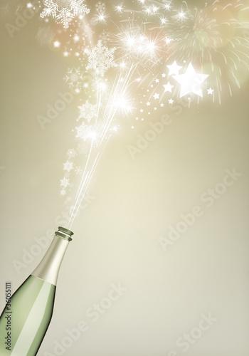 Feuerwerk aus Sektflasche