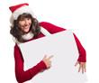 Weihnachtsfrau mit kleiner Werbetafel