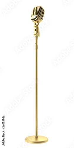 canvas print picture golden vintage microphone isolated on white background