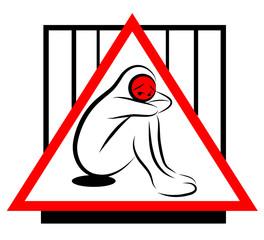 enfant à risque dans un panneau et une cage