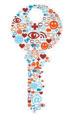 Key symbol with media icons texture