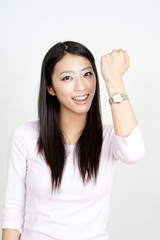attractive asian woman with watch