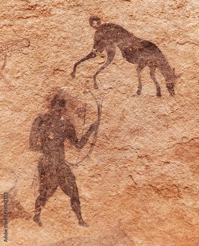 Fotobehang Algerije Rock paintings of Tassili N'Ajjer, Algeria