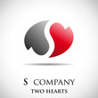 Logo letter S, two hearts # Vector