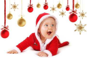 Happy Christmas baby with baubles