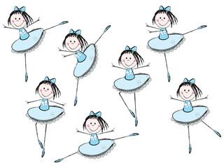 Cute little ballerina in blue dress