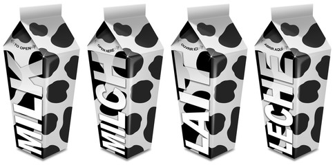 Milk, Lait, Milch, Leche packaging