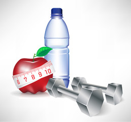 dumbbell with water bottle and apple with measure tape