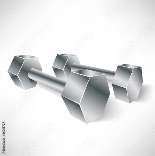 metal dumbbells in perspective view