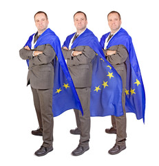men with the flag of the European Union....