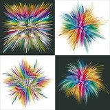 Set of four vector splashes in full color range