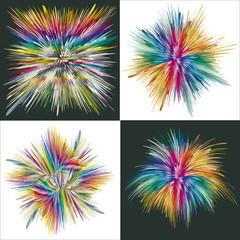 Set of four vector splashes in full color range