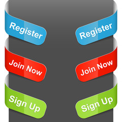 Left and right side signs - Register, Join now, Sign up. Vector.