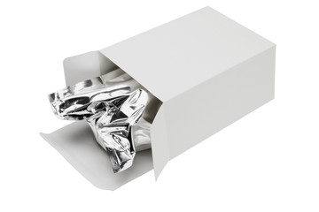 Aluminium foil bag in paper box