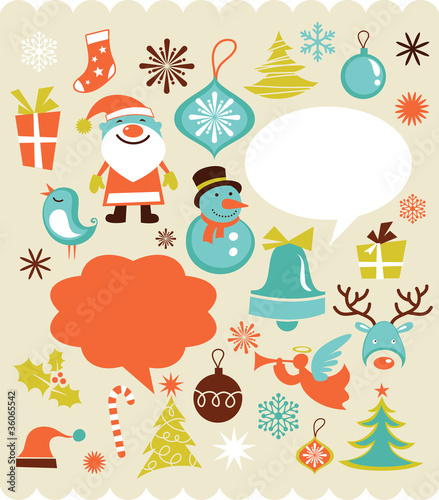 Retro Christmas background with collection of icons