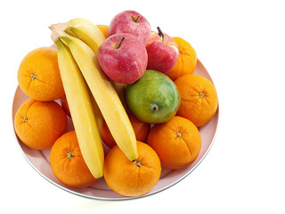fresh fruits on a round tray