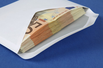 Envelope with euro bills