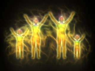 Family - woman, man and children - energy body, aura