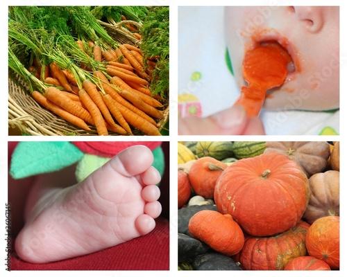 Bébé mangeant purée de carottes