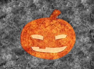 Halloween pumpkin, smoke background.
