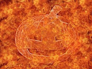 Halloween pumpkin, fire background.